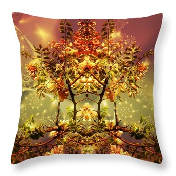 Festive Fractal Throw Pillow