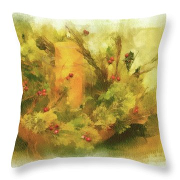 Throw Pillow featuring the photograph Festive Holiday Candle by Lois Bryan