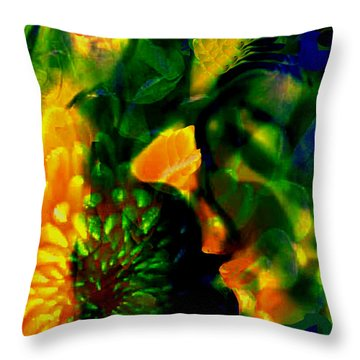 Festive Lady Throw Pillow by Asok Mukhopadhyay