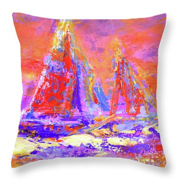 Festive Sailboats 11-28-16 Throw Pillow