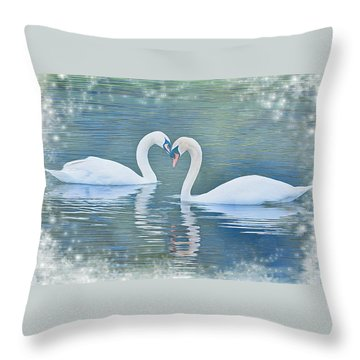 Festive Swan Love Throw Pillow by Diane Alexander