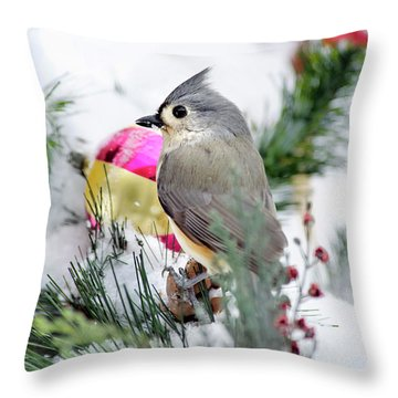 Festive Titmouse Bird Throw Pillow by Christina Rollo