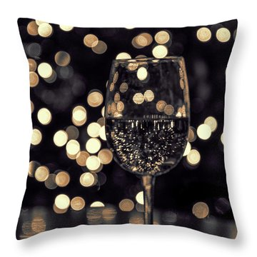 Throw Pillow featuring the photograph Festive White Wine by Steven Sparks