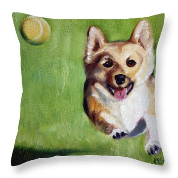 Fetch Throw Pillow by Mary Sparrow