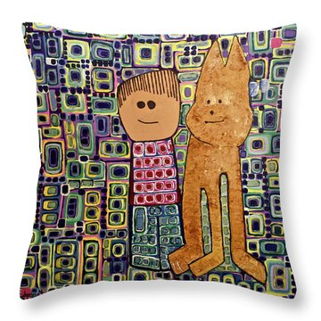 Throw Pillow featuring the painting Fetch.. You Fetch by Donna Howard