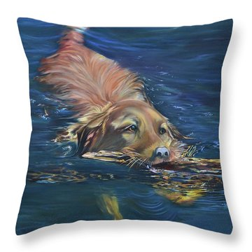 Fetching The Stick Throw Pillow