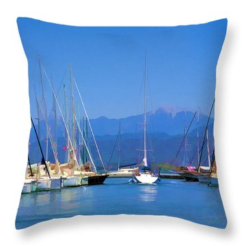 Throw Pillow featuring the digital art Fethiye Harbour by Rob Tullis