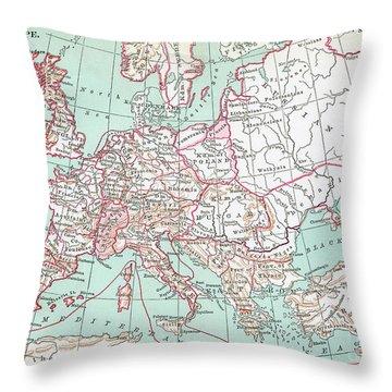 Feudal Europe Map.  Throw Pillow