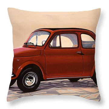 Fiat 500 1957 Painting Throw Pillow
