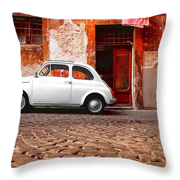 Fiat 500 Throw Pillow by Valentino Visentini