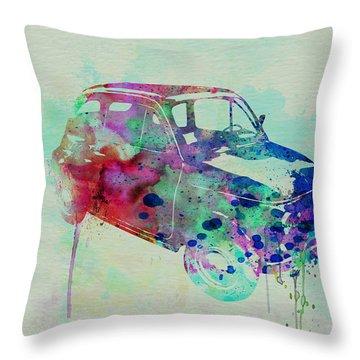 Fiat 500 Watercolor Throw Pillow by Naxart Studio