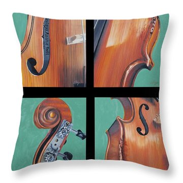 Fiddle Quartet Throw Pillow by Emily Page