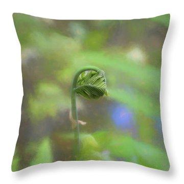 Fiddlehead Fern - Macro Throw Pillow