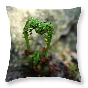 Fiddleheads Throw Pillow by Debbie Oppermann