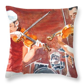 Throw Pillow featuring the painting Fiddles by Karen Ilari