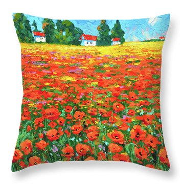 Field And Poppies Throw Pillow