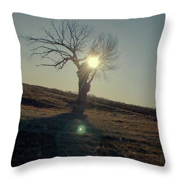 Field And Tree Throw Pillow