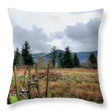 Throw Pillow featuring the photograph Field, Clouds, Distant Foggy Hills by Chriss Pagani