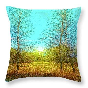 Field In Morning Light Throw Pillow