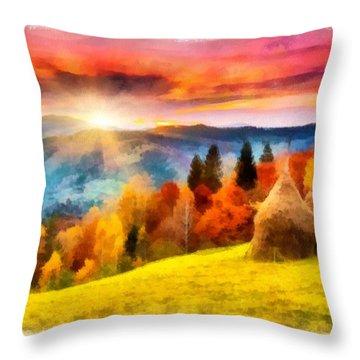 Field Of Autumn Haze Painting Throw Pillow