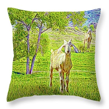 Field Of Baby Goat Dreams Throw Pillow by Joel Bruce Wallach