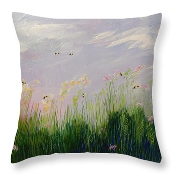 Field Of Bee's Throw Pillow by Sue Furrow