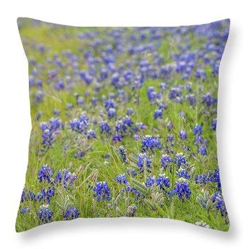 Field Of Blue Bonnet Flowers Throw Pillow