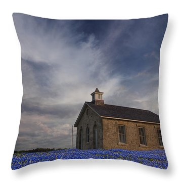 Field Of Blue Bonnets Throw Pillow