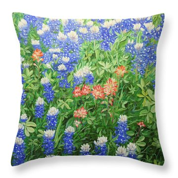 Field Of Blue Throw Pillow by Mike Ivey
