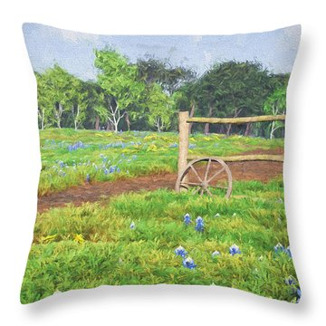 Throw Pillow featuring the digital art Field Of Bluebonnets by Jayne Wilson