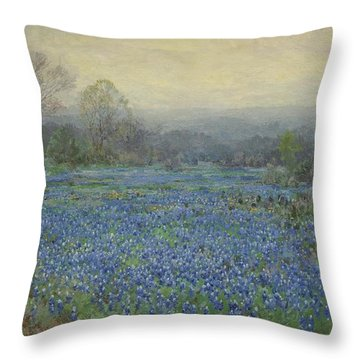 Field Of Bluebonnets Throw Pillow