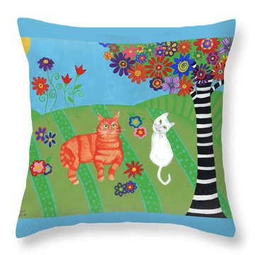 Kitty Cat Meadows Throw Pillow