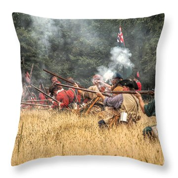 Field Of Fire French And Indian War Battle Throw Pillow by Randy Steele