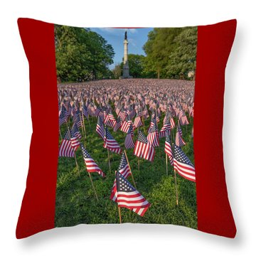 Field Of Flags At Boston's Soldiers And Sailors Monument Throw Pillow