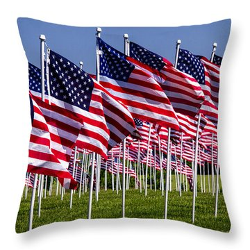 Field Of Flags For Heroes Throw Pillow