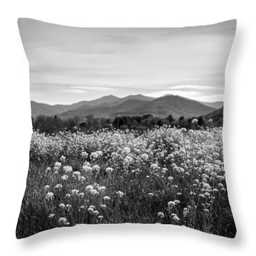 Throw Pillow featuring the photograph Field Of Flowers In Black And White by Greg Mimbs