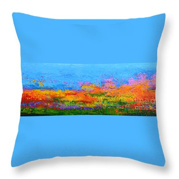 Abstract Field Of Wildflowers, Modern Art Palette Knife Throw Pillow