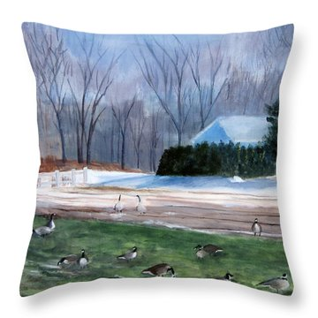 Field Of Geese Throw Pillow