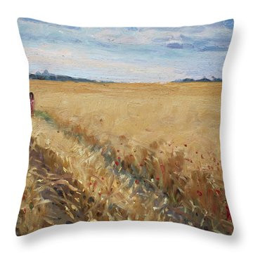 Field Of Grain In Georgetown On Throw Pillow
