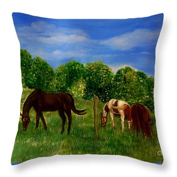 Field Of Horses' Dreams Throw Pillow