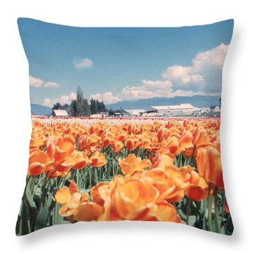 Field Of Orange Throw Pillow
