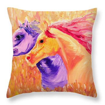 Field Of Orange Throw Pillow by Michael Lee