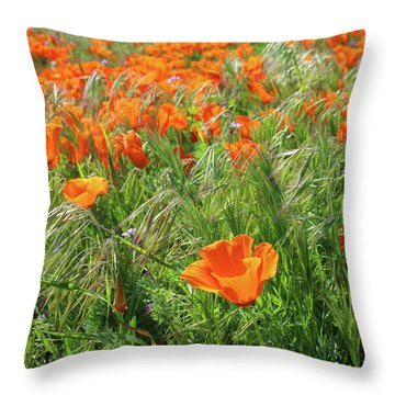 Throw Pillow featuring the mixed media Field Of Orange Poppies- Art By Linda Woods by Linda Woods