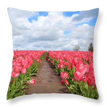 Field Of Pink Throw Pillow