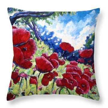 Field Of Poppies 02 Throw Pillow by Richard T Pranke