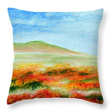 Throw Pillow featuring the painting Field Of Poppies by Jamie Frier