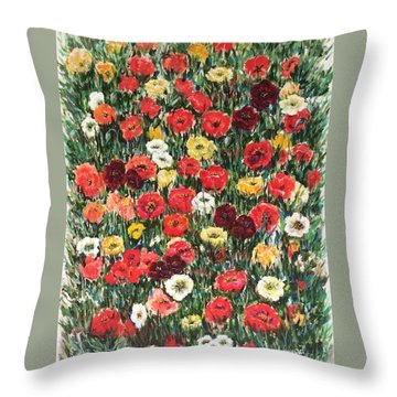 Throw Pillow featuring the painting Field Of Puppies  by Laila Awad Jamaleldin