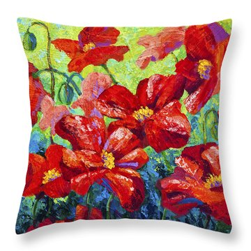 Field Of Red Poppies II Throw Pillow