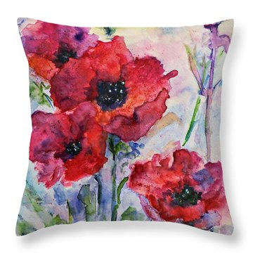 Field Of Red Poppies Watercolor Throw Pillow