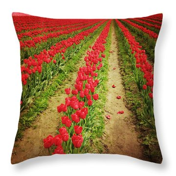 Field Of Red Tulips With Drama Throw Pillow